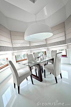 Modern dinning room interior design in white