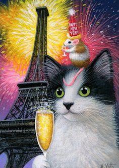 Tuxedo kitten cat mouse champagne New Year Paris original aceo painting art #Miniature