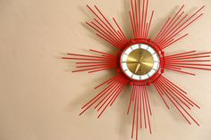 Mid Century Retro Red Vintage Star Fire Clock by VintageGorilla...IF THIS IS VINTAGE...THAN SO AM i