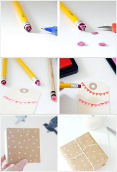 UPCYCLE: How to use those old new used dried out eraser pencils (or just the cheap ones), make mini-stamps!