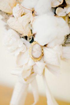 cotton + broach bouquet