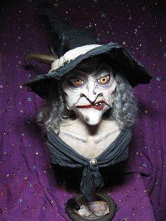 OOAK Halloween Witch - Hand Sculpted Art Doll Bust