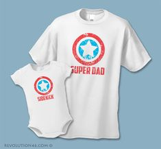 Super Dad and Sidekick Shirts -  Father Son Matching Shirts  (Set of 2) - Distressed Graphic - Daddy Daughter Shirts - Baby Daddy Set by REVOLUTION46R46 on Etsy https://www.etsy.com/listing/211374959/super-dad-and-sidekick-shirts-father-son