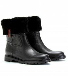 Gucci - ST. MORITZ FUR-TRIMMED LEATHER BOOTS - mytheresa.com GmbH