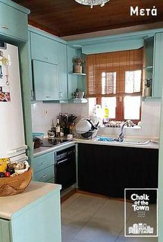 Μεταμόρφωση κουζίνας με Chalk Of The Town® Paint Kitchen Cabinets, Painting, Projects, Home Decor, Log Projects, Decoration Home, Room Decor, Kitchen Cupboards, Painting Art