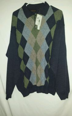 METROPOLITAN LORD AND TAYLOR  GRAY WOOL SWEATER Sz XL ITALIAN MADE #Metropolitan #BUTTONED