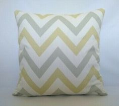 White Yellow And Sage Green zigzag Design Fabric Cushion Covers X Cushion Fabric, Abstract Styles, Zig Zag, Cushion Covers, Fabric Design, Cushions, Throw Pillows, Living Room, Yellow