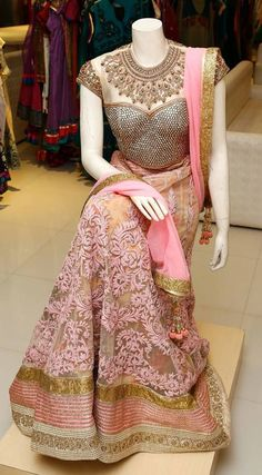 Beautiful Pink Embroidered Designer Lehenga Choli, Look fabulous in this Lehenga Choli, V&V Shop brings to you this exclusive Lehenga Choli which will impress you in many ways. The Lehenga Choli has been designed in a special way with beautiful intric Indian Attire, Indian Ethnic Wear, Indian Dresses, Indian Outfits, Anarkali, Lehenga Choli, Pink Lehenga, Bridal Lehenga, Lengha Dress