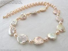 Untreated Metallic Golden Pale Pink Giant Round Baroque Coin and Metallic Pale Pink Round Freshwater Pearl Longer Necklace
