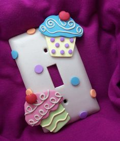 Cupcake Lightswitch Cover  Single  Handmade by Thimbletowne, $15.00