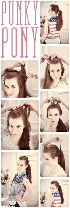 Braided punky plait ponytail hair style step by step tutorial guide