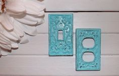 Aqua Blue / Shabby Chic Light Plate Cover / by Theshabbyshak, $10.00
