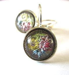 Antique button earrings. 1800s 3-dimensional flowers under glass. Silver leverbacks