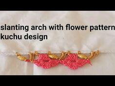 Crochet slanting arch with flower pattern Saree kuchu
