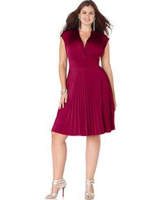 Soprano Plus Size Cap-Sleeve Pleated Empire Dress - Trendy Plus Sizes - Plus Sizes - Macy's. Marsala in the house; great for work or a first date.