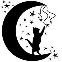 Silhouette Design Store - View Design cat in the moon Silhouette Design, Animal Silhouette, Cat Silhouette Tattoos, Moon Silhouette, Frida Art, Cat Quilt, Cat Tattoo, Cat Drawing, Rock Art