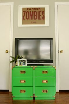 Boys' Room: green campaign furniture, Zombies Poster from Kudzu Antiques, green and gray, kids room