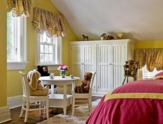 Yellow wall color decor and pink bed furniture set in small teenage bedroom.