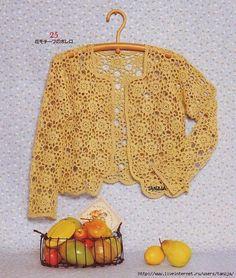 Crochetemoda: Casaqueto Amarelo de Crochet