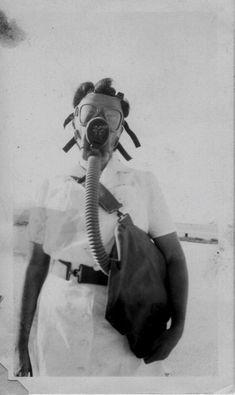 nurse in gas mask