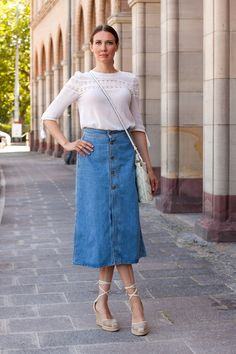 Outfit: Zara  Denim Maxi Skirt: Full Article on my blog: http://www.moodforstyle.de/outfit-denim-maxi-skirt-and-white-lace-details/