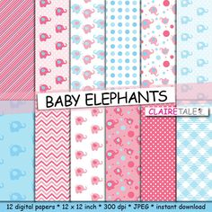 Elephant digital paper BABY ELEPHANTS with elephants by ClaireTALE, $4.80