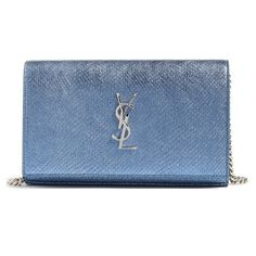 Women's Saint Laurent Python Embossed Wallet On A Chain (2,850 BAM) ❤ liked on Polyvore featuring bags, wallets, python wallet, python leather wallet, blue leather wallet, genuine leather wallet and leather shopper