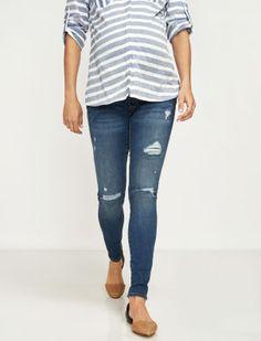 a108a4e1f69ce Luxe Essentials Denim Secret Fit Belly(r) Addison Rip & Repair Skinny Maternity  Jean
