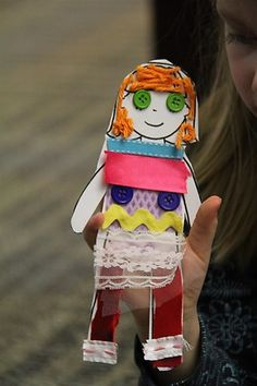 Fabric scrap paper dolls.