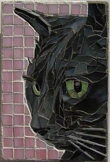 Cat mosaic GATO EM VIDRO FUNDO DIFERENTE