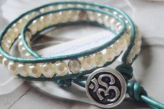 Zen Bracelet   Double Wrap Leather Bracelet With Silver Om Button by…
