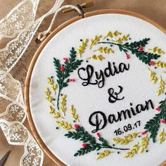 This hand embroidery wedding hoop is perfect for home decoration or for a wedding gift.Also this custom embroidery is a very nice choice as an anniversary gift. This floral embroidery hoop is my hand drawing and this embroidery is completely hand embroidery. This modern floral