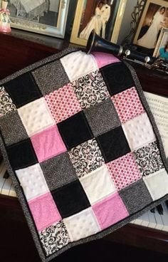 Pink & Black Doll Quilt ~ For American Girl Samantha Other Doll Bed Pollys Rox