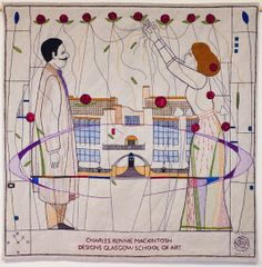 Great Tapestry of Scotland, designed by Andrew Crummy. Image based on Charles Rennie Mackintosh's design for the Glasgow School of Art. Wool embroidered on to linen, x Charles Rennie Mackintosh Designs, Scotland People, History Of Textile, Glasgow School Of Art, Textiles, Fabric Beads, Fiber Art, Tapestry, Embroidery