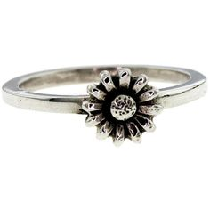Metal Couture Silver Daisy Flower Stack Ring ($95) ❤ liked on Polyvore featuring jewelry, rings, accessories, daisy ring, metal jewelry, daisy jewellery, flower rings and silver daisy ring