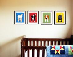 Dog prints Dog Art Puppy nursery art prints Any 4 8x10 by Wallfry, $47.00
