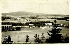 """Nord-Trøndelag fylke Stjørdal kommune Skatval Jernbanestation oversikt """"med Omgivelser""""  Utg A.J.. Trolig meget uvanlig datert 1912"""