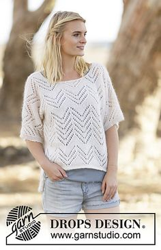 Ravelry: 0-1119 Jumper with lace pattern pattern by DROPS design