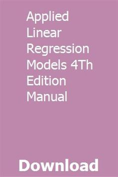 applied linear regression models 4th edition pdf