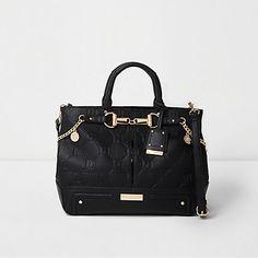 Black RI embossed snaffle chain tote bag