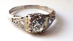 Antique Art Deco Platinum Diamond Engagement by My3LadiesJewelry, $1995.00