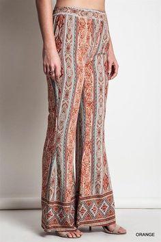 UMGEE PLUS Boho Bellbottoms Orange/Mint Beach Pants Hippie XL #Umgee #Bellbottoms