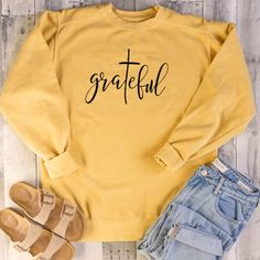 New Faith Hope Love Christian Sweatshirt Women Long Sleeve Crewneck Inspirational Graphic Pullover Blouse Top online - Stargreatshopping Hoodie Sweatshirts, Sweatshirts Online, Printed Sweatshirts, Jesus Clothes, Style Streetwear, Christian Clothing, Christian Apparel, Christian Hoodies, Looks Cool