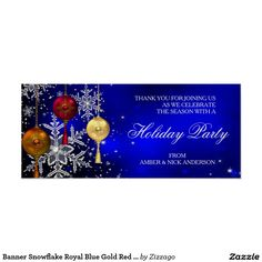 Banner Snowflake Royal Blue Gold Red Holiday Party Poster