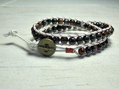 Leather Wrap Bracelet Double Wrap Around by BeadWorkBySmileyKit