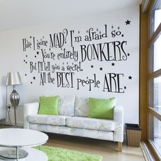 LARGE Alice in Wonderland Mad Hatter Quote Wall Sticker Wall Decal Wall Mural Wall Art