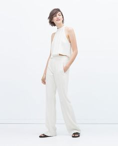 ZARA - WOMAN - TOP WITH PLEATED FRONT. White on white beautiful!