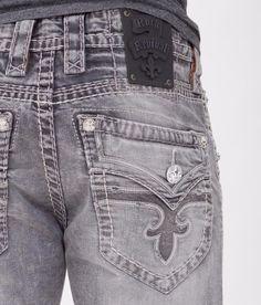 NEW Men's ROCK REVIVAL Mid Rise Grey Tobin Boot Stretch Jean Sizes 34,36,38 #RockRevival #BootCut True Jeans, Rock And Roll Jeans, Designer Pants, Rock Revival Jeans, New Man, Stretch Jeans, Jeans Size, Denim Shorts, Grey