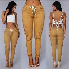 Gender: Women Style: Casual Front Style: Flat Fabric Type: Knitted Length: Full Length Pant Style: Pencil Pants Material: Polyester,Spandex,Cotton Pattern Type: Solid Brand Name: Liva girl Decoration: Pockets Fit Type: Skinny Waist Type: High Closure Type: Drawstring Fabric Type: Broadcloth Style: Fashion
