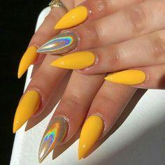 23 Great Yellow Nail Art Designs 2019 - Nail designs - Best Nail World Yellow Nails Design, Yellow Nail Art, Gorgeous Nails, Pretty Nails, Nagellack Design, Fire Nails, Rainbow Nails, Best Acrylic Nails, Holographic Nails
